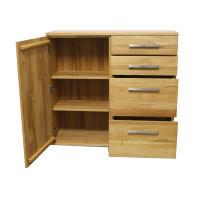 Wohnzimmer Kommode mit Schubladen LINO Massivholz - Flachsockel Kernbuche