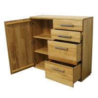 Wohnzimmer Kommode mit Schubladen LINO Massivholz - Flachsockel Wildeiche