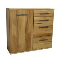 Wohnzimmer Kommode mit Schubladen LINO Massivholz - Flachsockel Nussbaum