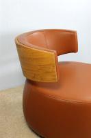 Designer Sessel BOOM mit Massivholzrücken Eiche natur Leder