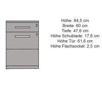Schmale LINO Kommode mit Flachsockel Nussbaum