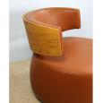 Leder Designer Sessel BOOM mit Eiche natur cognacbraun