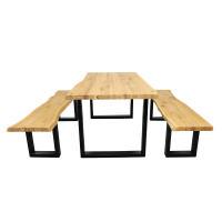 Baumkanten Esstisch aus massiver Wildeiche 180 x 90 cm