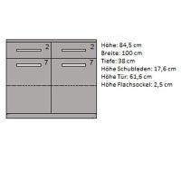 LINO Kommode aus Massivholz mit Flachsockel Kernbuche