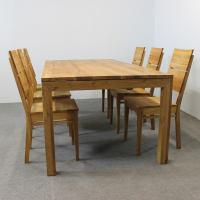 Esstisch LINO Massivholz mit Gestellauszug - 90cm Breite Wildeiche 160 x 90 cm 50 x 90 cm