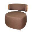 Designer Sessel BOOM mit Massivholzrücken Kernbuche grober Webstoff