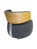 Designer Sessel BOOM mit Massivholzrücken Eiche natur grober Webstoff