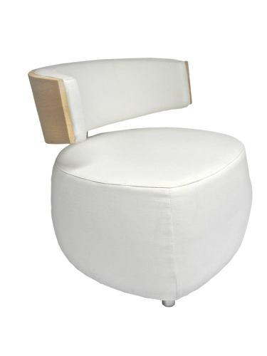 Designer Sessel BOOM mit Massivholzrücken Eiche bianco grober Webstoff