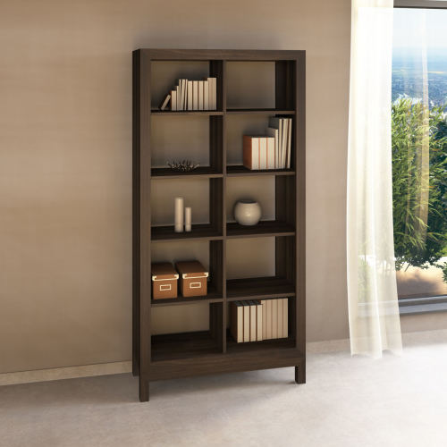 Lino Raumteiler-Regal aus Massivholz - 100 x 38 x 201 cm Nussbaum