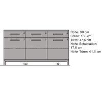 Exclusives LINO Sideboard mit Glastüren 180 cm Kernbuche