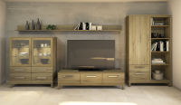 Hochwertige Massivholz TV-Wohnwand LINO