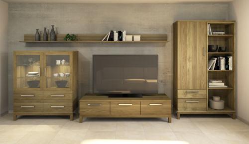 Hochwertige Massivholz TV-Wohnwand LINO Eiche