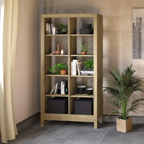 Lino Regal aus Massivholz - 100 x 31,6 x 192 cm Wildeiche weiß geölt