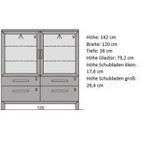 Niedrige Esszimmer Vitrine mit Glastüren Massivolz LINO Buche