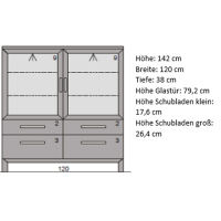 Niedrige Esszimmer Vitrine mit Glastüren Massivolz LINO Nussbaum
