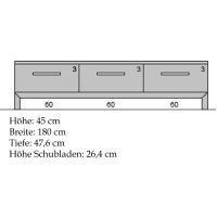 Exklusives TV-Lowboard LINO mit 3 Schubladen  Buche