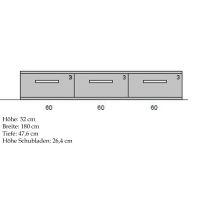 Modernes TV-Lowboard mit Flachsockel  Wildeiche weiß geölt