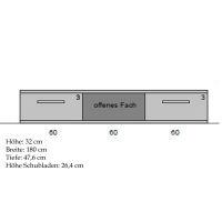 Hochwertiges TV-Lowboard Massivholz LINO  Nussbaum