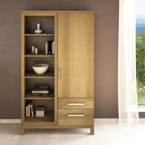 Massivholz Bücherschrank mit Regal links Buche