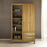 Massivholz Bücherschrank mit Regal links Eiche