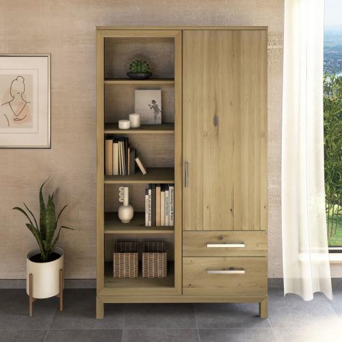 Massivholz Bücherschrank mit Regal links Wildeiche weiß geölt