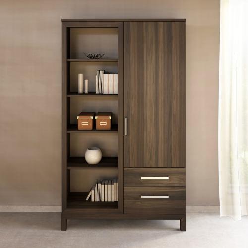 Massivholz Bücherschrank mit Regal links Nussbaum