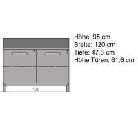 Moderne Massivholzkommode mit Türen LINO Wildeiche weiß geölt