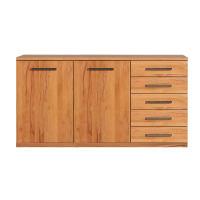 LINO Sideboard aus Echtholz 180 cm Wildeiche weiß geölt