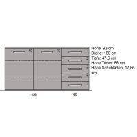 LINO Sideboard aus Echtholz 180 cm Nussbaum