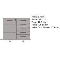 Exklusive Kommode Holz 120 cm  Kernbuche