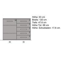 Exklusive Kommode Holz 120 cm  Eiche