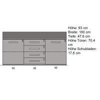 Exklusives Sideboard Holz 180 cm Wildeiche