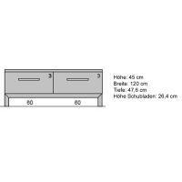 Massivholz Fernsehschrank mit Schubladen 120 cm  Eiche