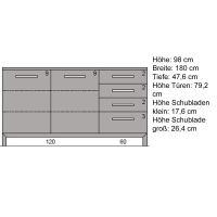 Schlichtes Massivholz Sideboard 180 cm  Kernbuche