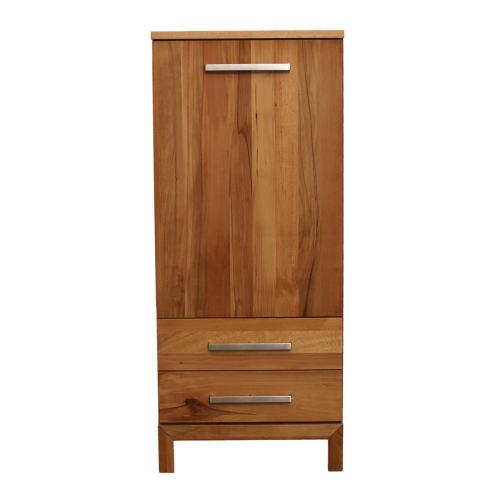 Schmales LINO Highboard Holz Wildeiche weiß geölt