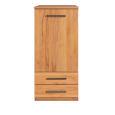 Schmales LINO Highboard Holz mit Flachsockel Wildeiche weiß geölt