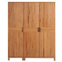 Hochwertiger Kleiderschrank Holz LINO 3 Türig Wildeiche weiß geölt