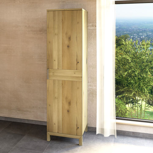 Schmaler Holz Kleiderschrank mit Einlegeböden LINO Wildeiche weiß geölt