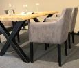 Massiver Baumkantentisch Wildeiche mit X Fuß  180 x 90 cm