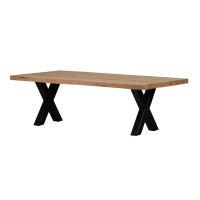 Rustikaler Massivholz Esstisch mit X Gestell