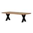 Rustikaler Massivholz Esstisch mit X Gestell 160 x 90 cm