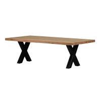 Rustikaler Massivholz Esstisch mit X Gestell 220 x 100 cm