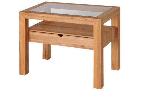 Holz Nachttisch LINO mit Glasplatte  Wildeiche weiß geölt