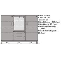Modernes Wohnzimmer Highboard aus Massivholz Wildeiche weiß geölt