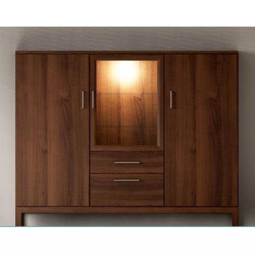 Modernes Wohnzimmer Highboard aus Massivholz Nussbaum