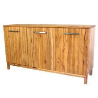 LINO Sideboard Massivholz mit 3 Türen 180 cm Wildeiche weiß geölt