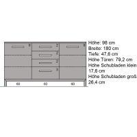 Esszimmer Sideboard Massivholz 180 cm mit Sockel Eiche