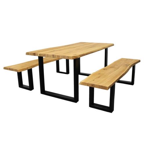 Baumkantetisch mit 2 Bänken Wildeiche 180x90 cm