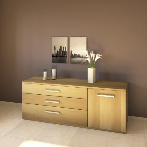 LINO Sideboard 180 cm mit 3 Schubladen Massivholz Buche