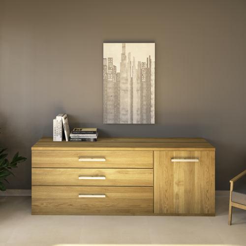 LINO Sideboard 180 cm mit 3 Schubladen Massivholz Eiche